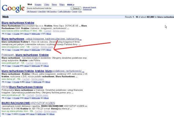 Wyniki wyszukiwania z zastosowaniem narzędzia SEO dla firefox