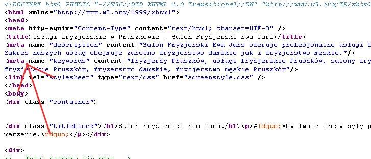 Znaczniki meta w kodzie strony HTML