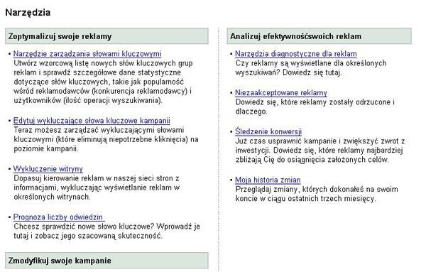 Panel administracyjny Google AdWords