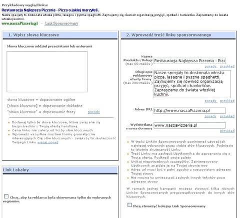 Panel administracyjny NetSprint dla linku lokalnego