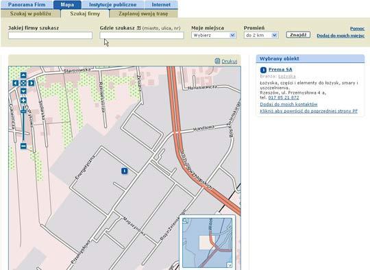 Firma na mapie w serwisie Panoramy Firm